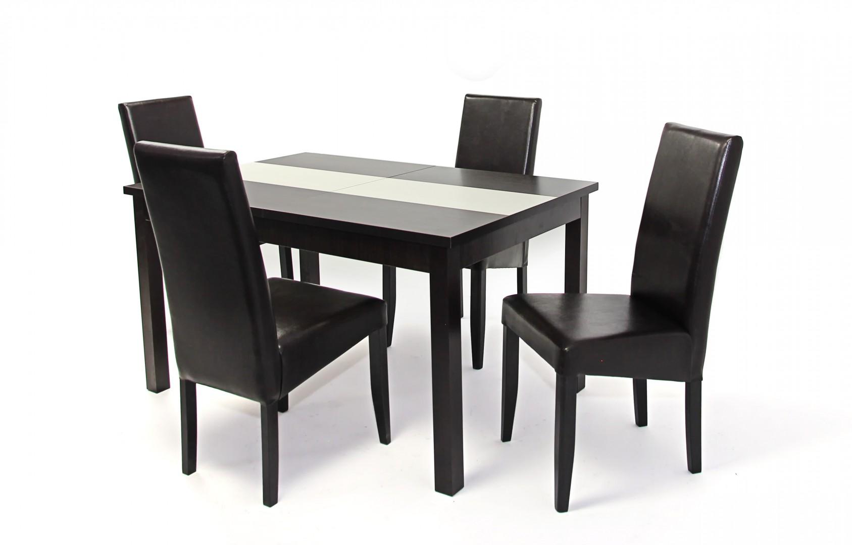 Kis Irish asztal 135 ös Wenge + 4 db Berta szék SötétbarnaWenge